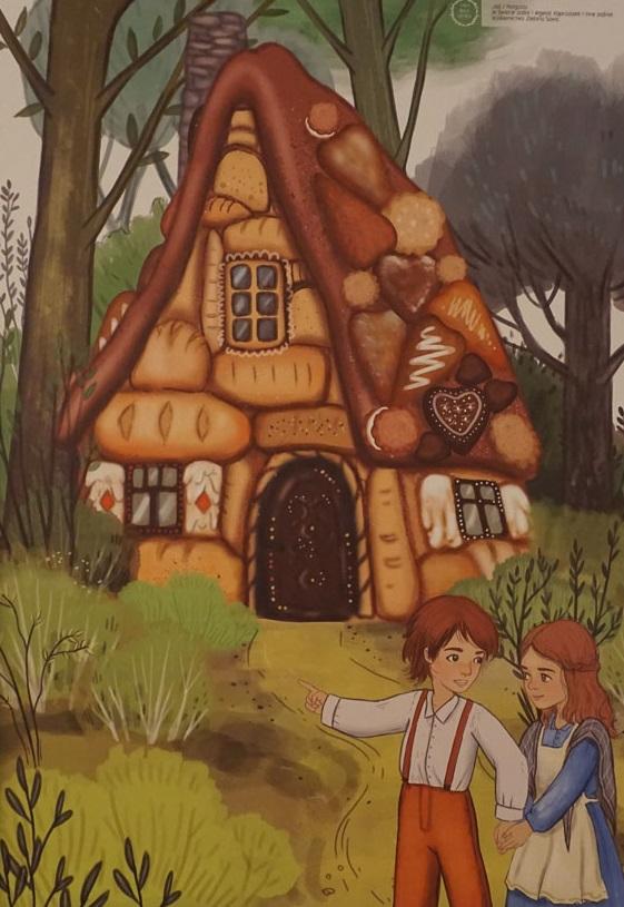 Ilustracja Izabeli Madeji. Na obrazku postać dziwczyny i chłopaka na tle piernikowego domu